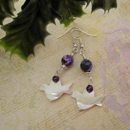 Peace Dove Gemstone Earrings - Purple