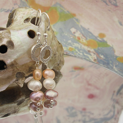 Pearl Earrings, Celtic Style, made in Scotland, 925