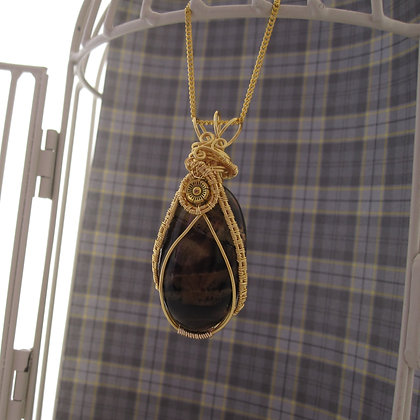 Chocolate Agate Pendant, Gift for Her