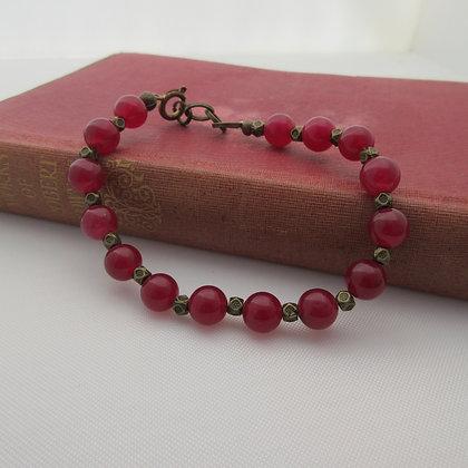 Gemstone Bracelet, Cherry Red Quartzite