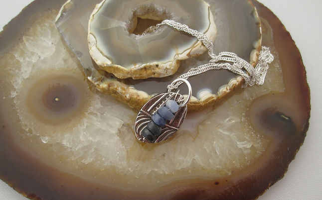 Handcrafted Silver and sapphire pendant