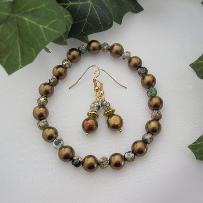 Gemstone Gift Set - Earrings and Bracelet, Pyrite and Cloisonne