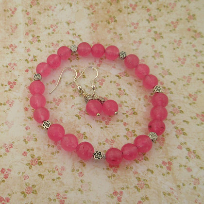 Gemstone Gift Set - Earrings and Bracelet, Celtic, Sugar Pink Quartz