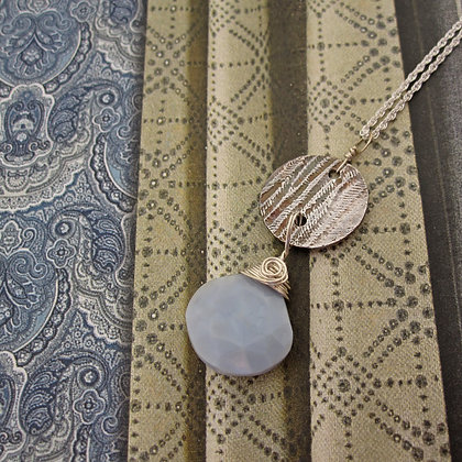 Handcrafted Silver and Blue Opal Pendant