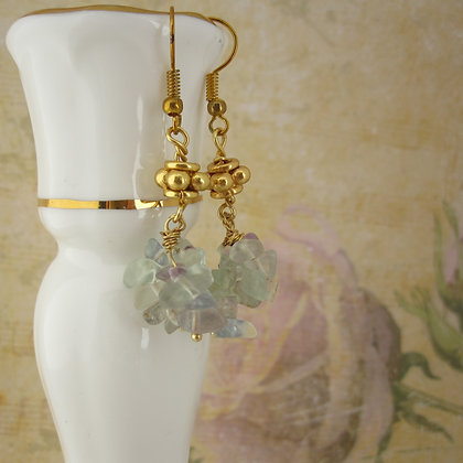 Fluorite Earrings with Gold Plated Ear Wires