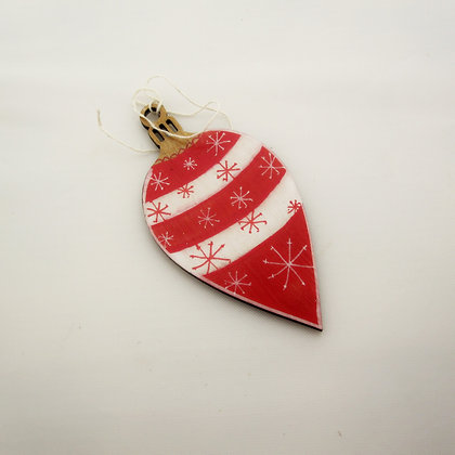 Hand-painted Wooden Decoration: Red and White Bauble