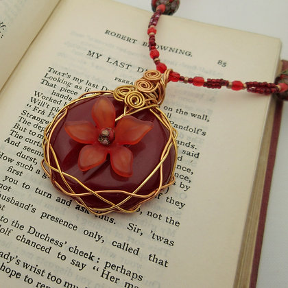 Red Flower Vintage Button Necklace