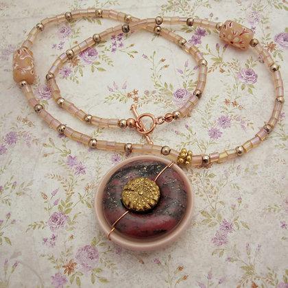 Vintage Button Necklace with Chalcopyrite