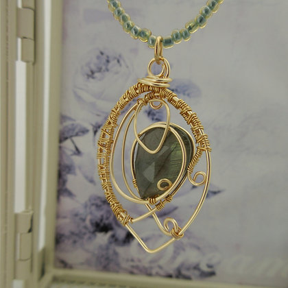 Labradorite Leaf Necklace, Wire Wrapped, Gold Plated