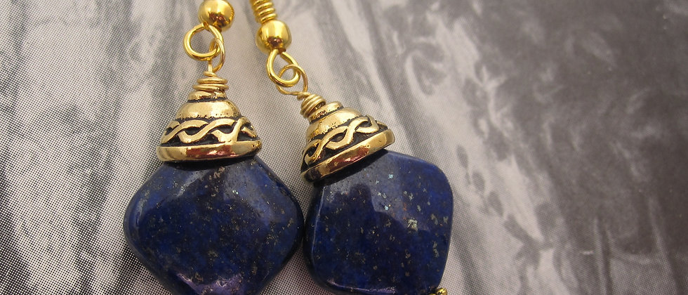 Lapis Lazuli Earrings, Celtic Style