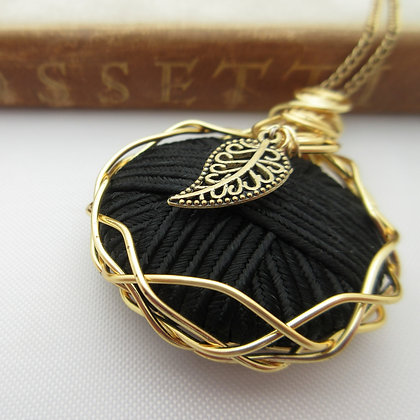 Vintage Button Necklace with Leaf Charm