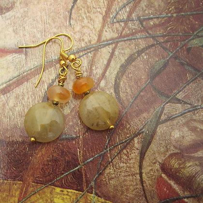 Carnelian and Quartz Coin Earrings