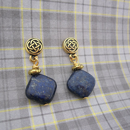 Lapis Lazuli Earrings, Celtic Style, Earposts