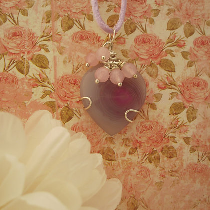 Pink Agate Heart Pendant, Gift for Her