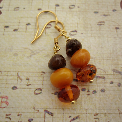 Amber Earrings with Gold Plated 925 Silver Ear Wires