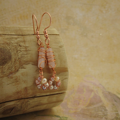 Rose Quartz and Pearl Earrings, Vintage Style