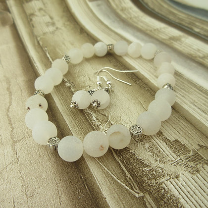 Gemstone Gift Set - Earrings and Bracelet, Druzy Agate