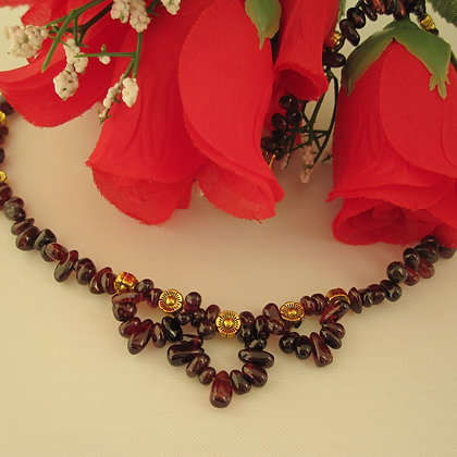 Garnet Necklace, Gold Plated
