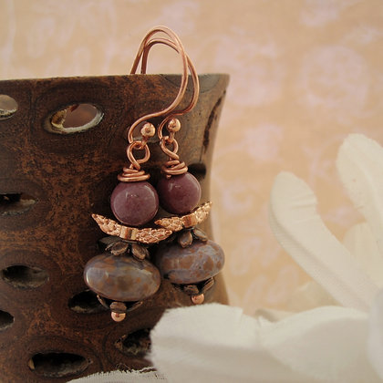 Woodland Fairy, Gemstone Earrings, Rose Gold Plated