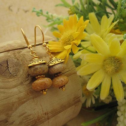 Woodland Jasper Earrings, Gold Plated