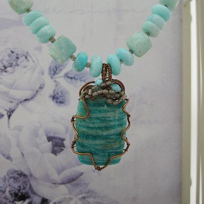 Amazonite and Smokey Quartz Necklace