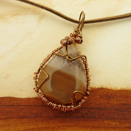 Brown Agate, Wire Wrap Pendant, Rose Gold Plated