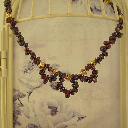 Garnet Necklace, Gold Plated