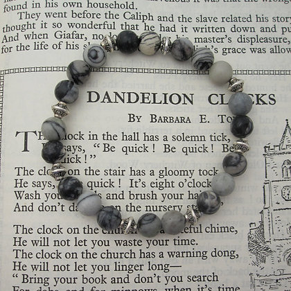 Gemstone Bracelet, Grey Jasper, Small