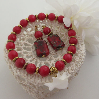 Gemstone Gift Set - Earrings and Bracelet, Red Quartz and Jasper