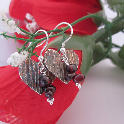 Handcrafted Silver, Heart Earrings, Garnet