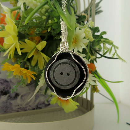 Shades of Grey Vintage Button Necklace