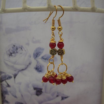 Red Quartz Drop Earrings