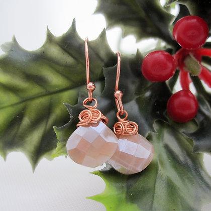 Moonstone Earrings, Rose Gold Plated, Gift for Her