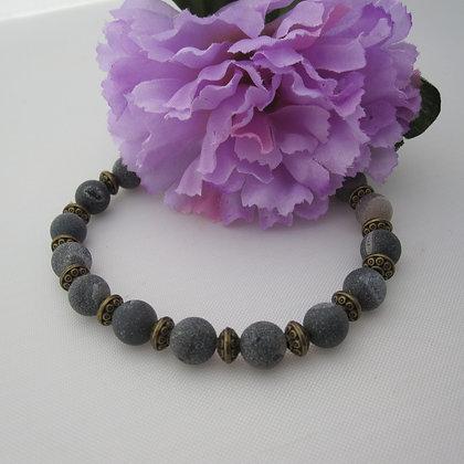 Gemstone Bracelet, Grey Druzy Agate