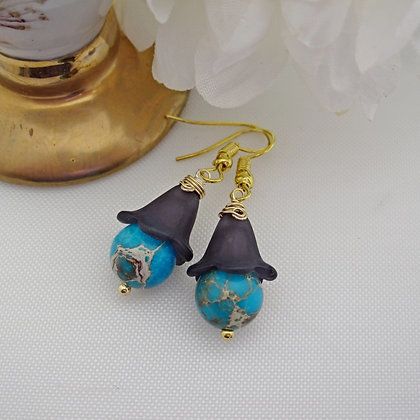 Blue Bell Earrings with Varascite