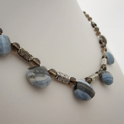 Chalcedony, Opal and Smokey Quartz Necklace