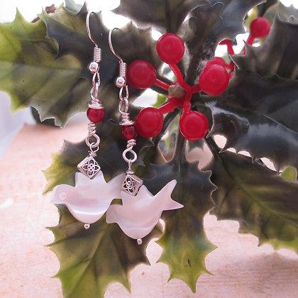Peace Dove Gemstone Earrings - Red Quartz