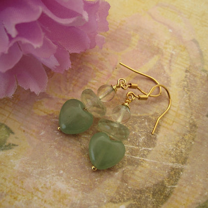 Heart Earrings with Prasiolite and Aventurine, Gold Plated 925 Silver