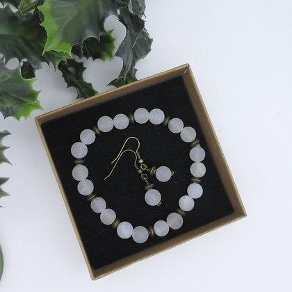 Gift Set, Snow White Druzy Agate, Bracelet and Earrings