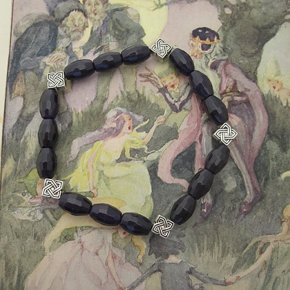 Gemstone Bracelet, Purple Quartzite, Celtic Style