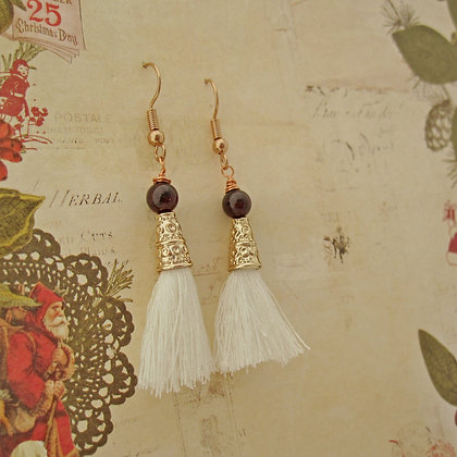 Garnet Earrings, Tassel, Rose Gold Plated