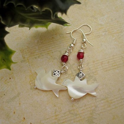 Peace Dove Gemstone Earrings - Red Quartz