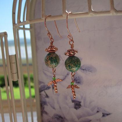 Jasper Dragonfly Earrings, Rose Gold Plated