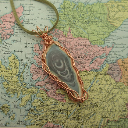 Imperial Jasper, Statement Pendant, Rose Gold Plated