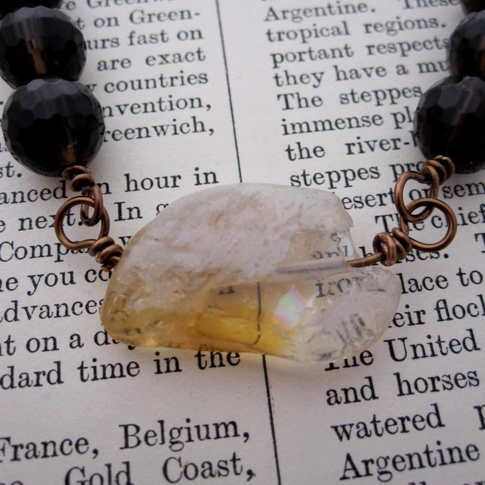 Citrine and Smokey Quartz Rosary Necklace