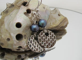 handcrafted silver and pearl earrings by Indigo Berry