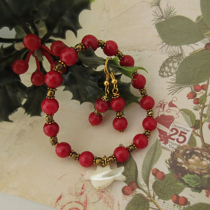 Gemstone Gift Set - Earrings and Bracelet Red Quartz