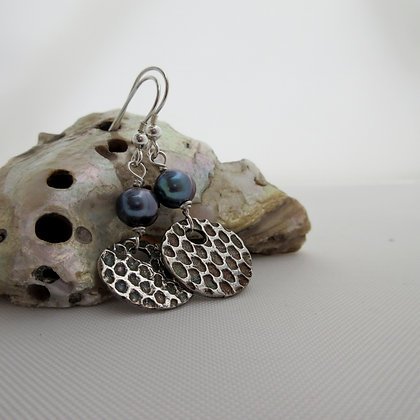 Handcrafted Silver Earrings with Peacock Pearls