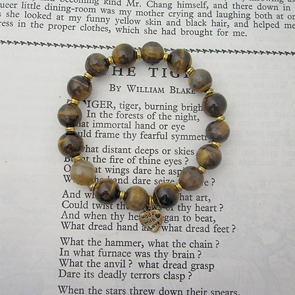 Gemstone Bracelet, Tigers Eye, with charm