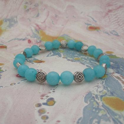 Gemstone Bracelet, Blue Quartz, Celtic Style